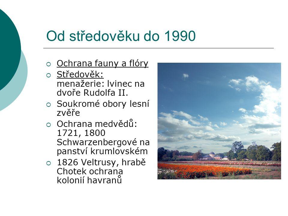 Od středověku do 1990 Ochrana fauny a flóry