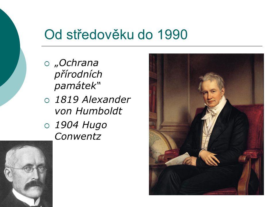 """Od středověku do 1990 """"Ochrana přírodních památek"""