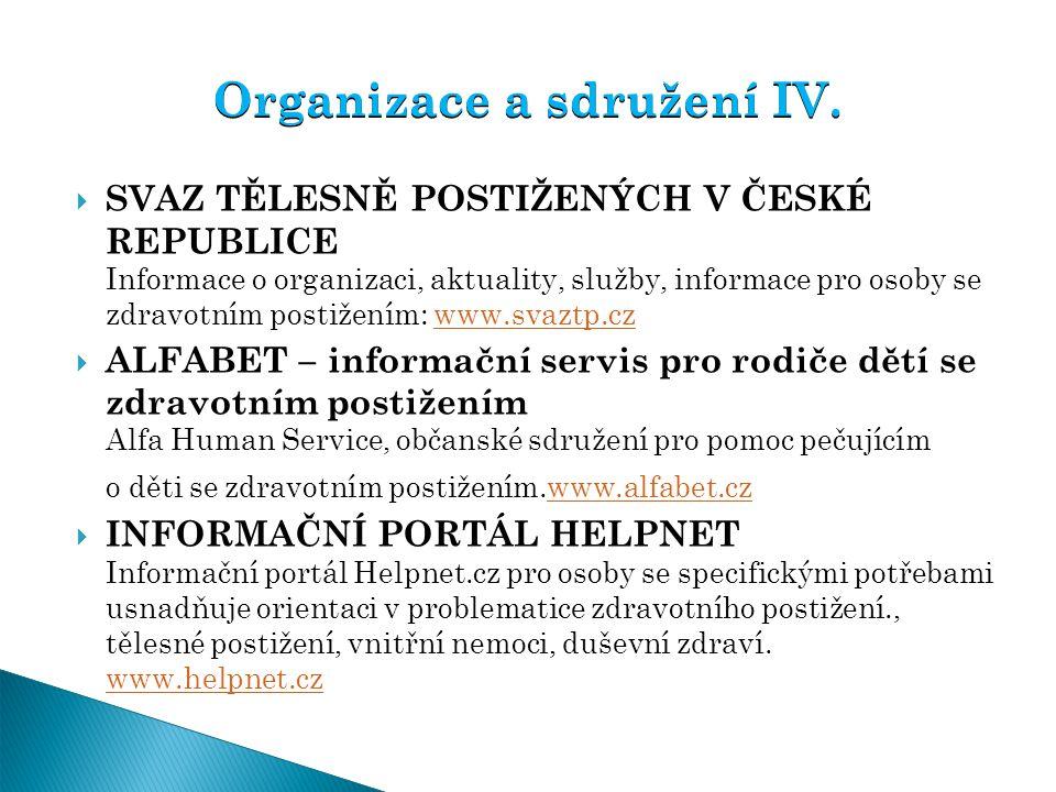 Organizace a sdružení IV.