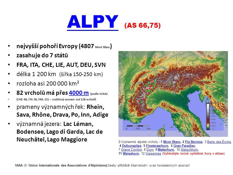 ALPY (AS 66,75) nejvyšší pohoří Evropy (4807 Mont Blanc)