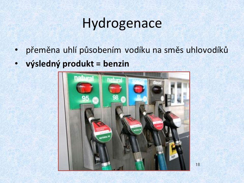 Hydrogenace přeměna uhlí působením vodíku na směs uhlovodíků