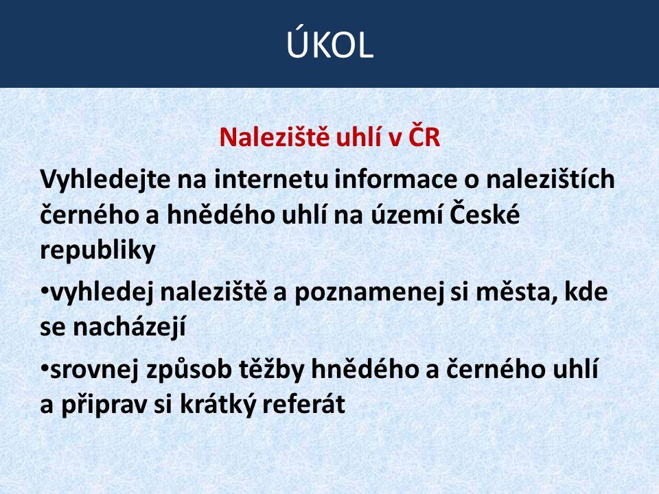 ÚKOL Naleziště uhlí v ČR