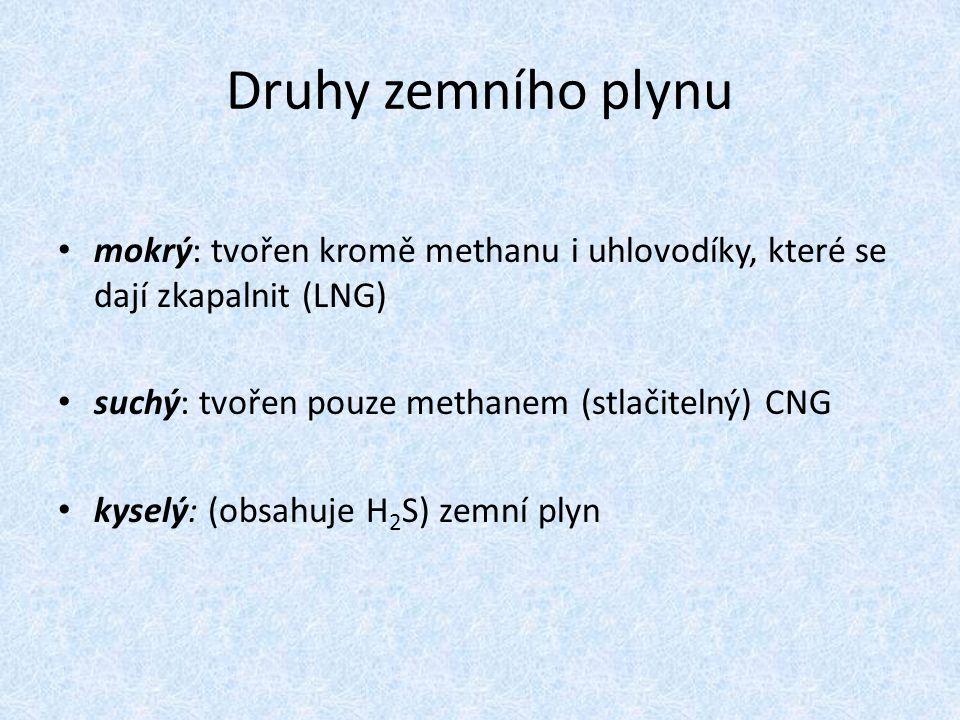Druhy zemního plynu mokrý: tvořen kromě methanu i uhlovodíky, které se dají zkapalnit (LNG) suchý: tvořen pouze methanem (stlačitelný) CNG.