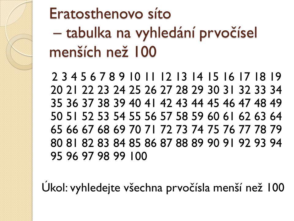 Eratosthenovo síto – tabulka na vyhledání prvočísel menších než 100