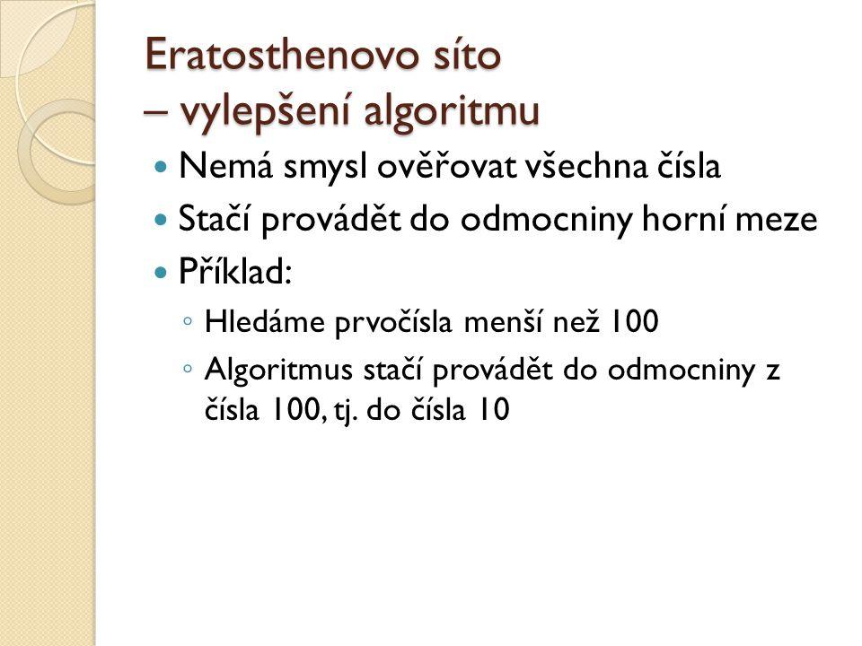 Eratosthenovo síto – vylepšení algoritmu
