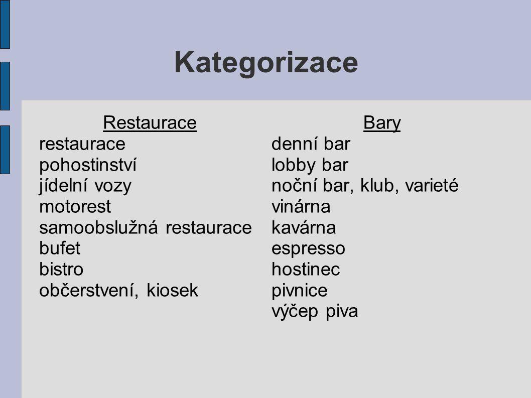 Kategorizace Restaurace restaurace pohostinství jídelní vozy motorest