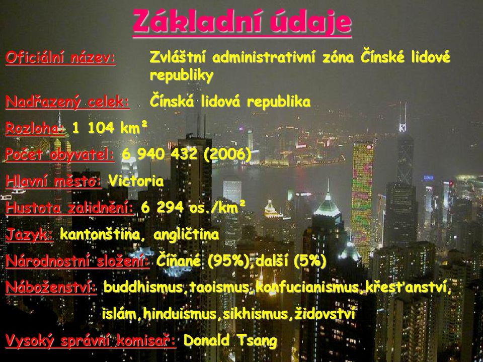 Základní údaje Oficiální název: Zvláštní administrativní zóna Čínské lidové republiky. Nadřazený celek: Čínská lidová republika.
