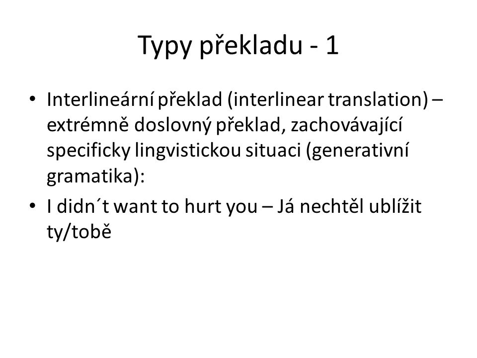 Typy překladu - 1