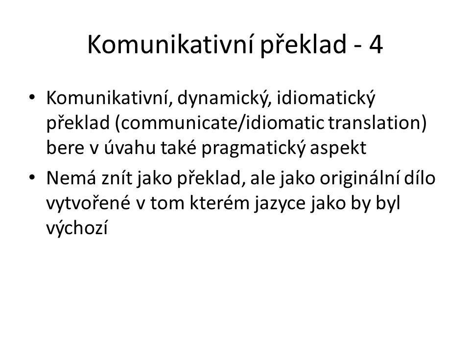 Komunikativní překlad - 4