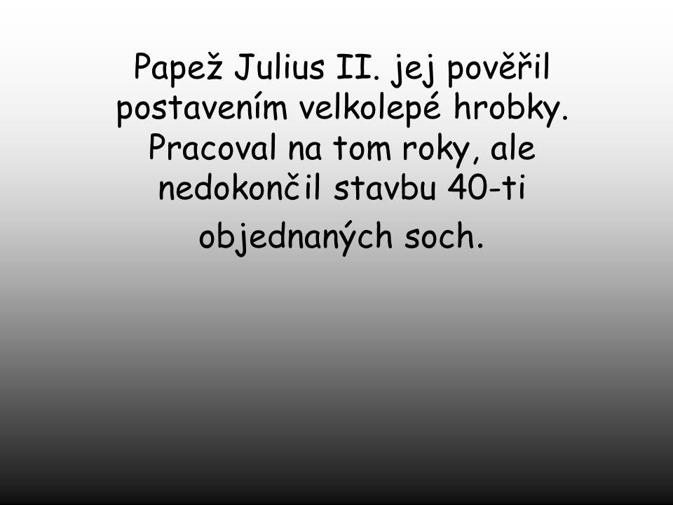 Papež Julius II. jej pověřil postavením velkolepé hrobky