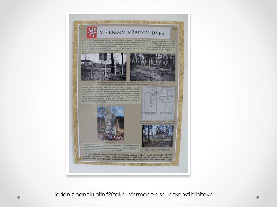 Jeden z panelů přináší také informace o současnosti hřbitova.