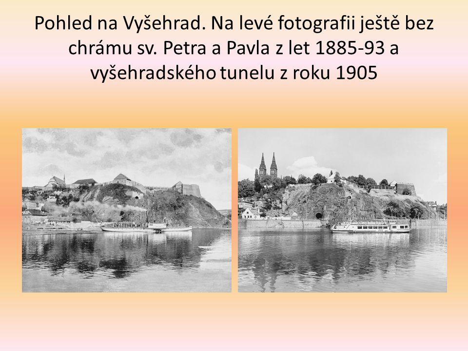 Pohled na Vyšehrad. Na levé fotografii ještě bez chrámu sv