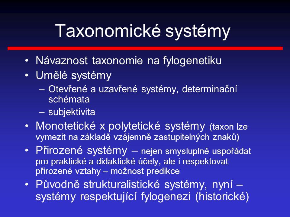 Taxonomické systémy Návaznost taxonomie na fylogenetiku Umělé systémy