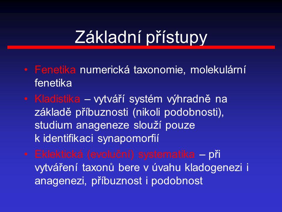 Základní přístupy Fenetika numerická taxonomie, molekulární fenetika