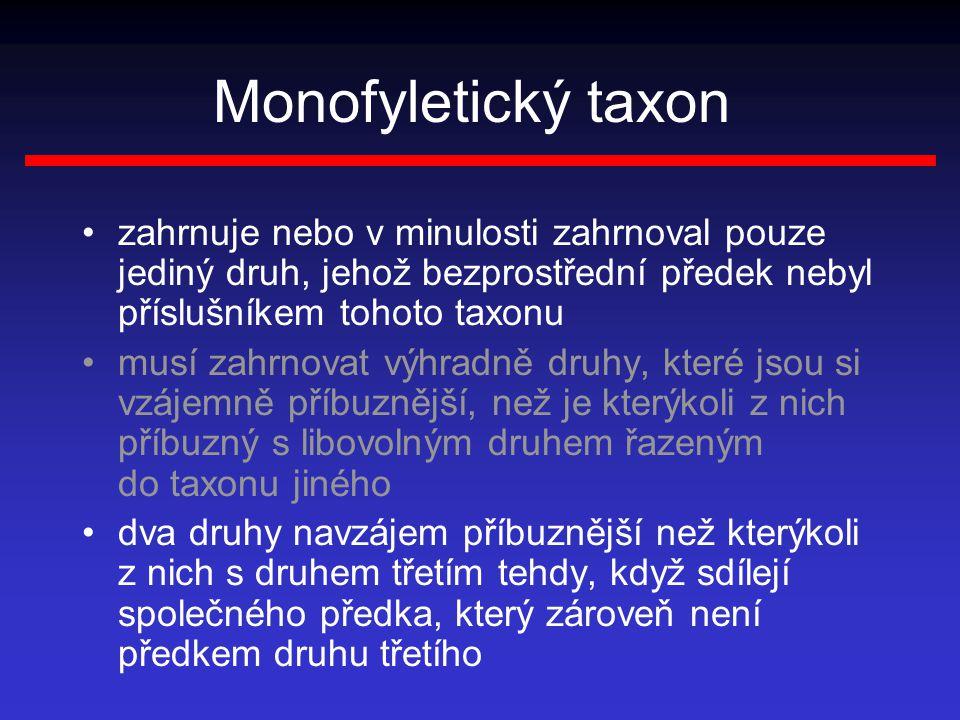 Monofyletický taxon zahrnuje nebo v minulosti zahrnoval pouze jediný druh, jehož bezprostřední předek nebyl příslušníkem tohoto taxonu.