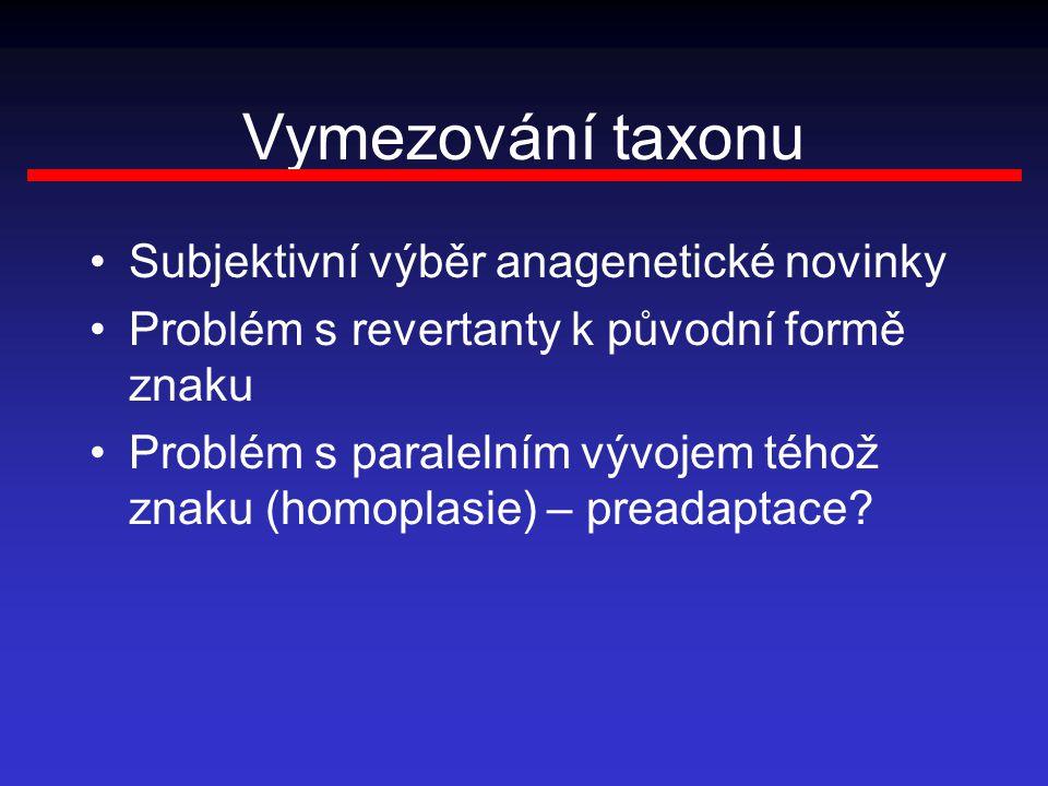 Vymezování taxonu Subjektivní výběr anagenetické novinky