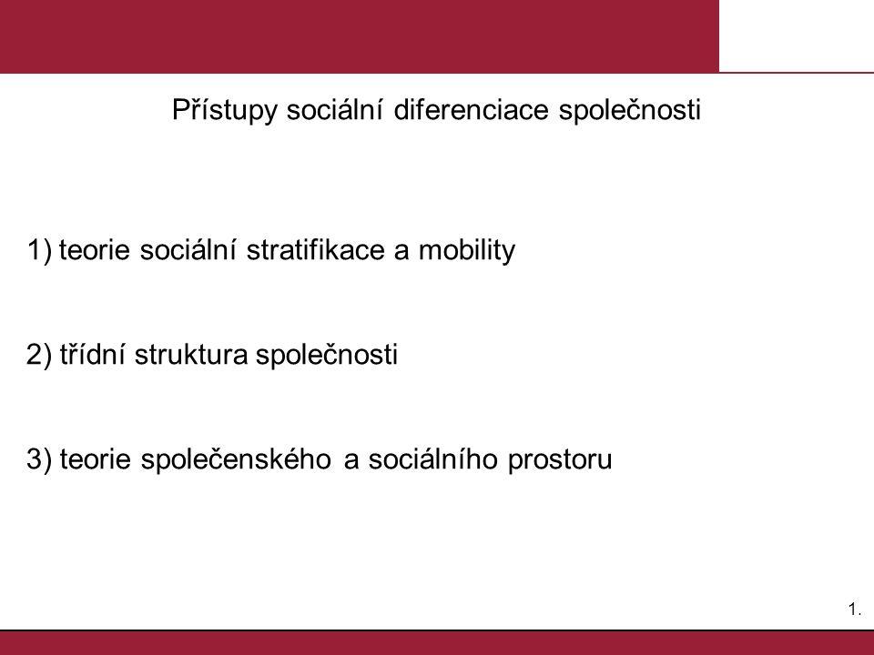 Přístupy sociální diferenciace společnosti