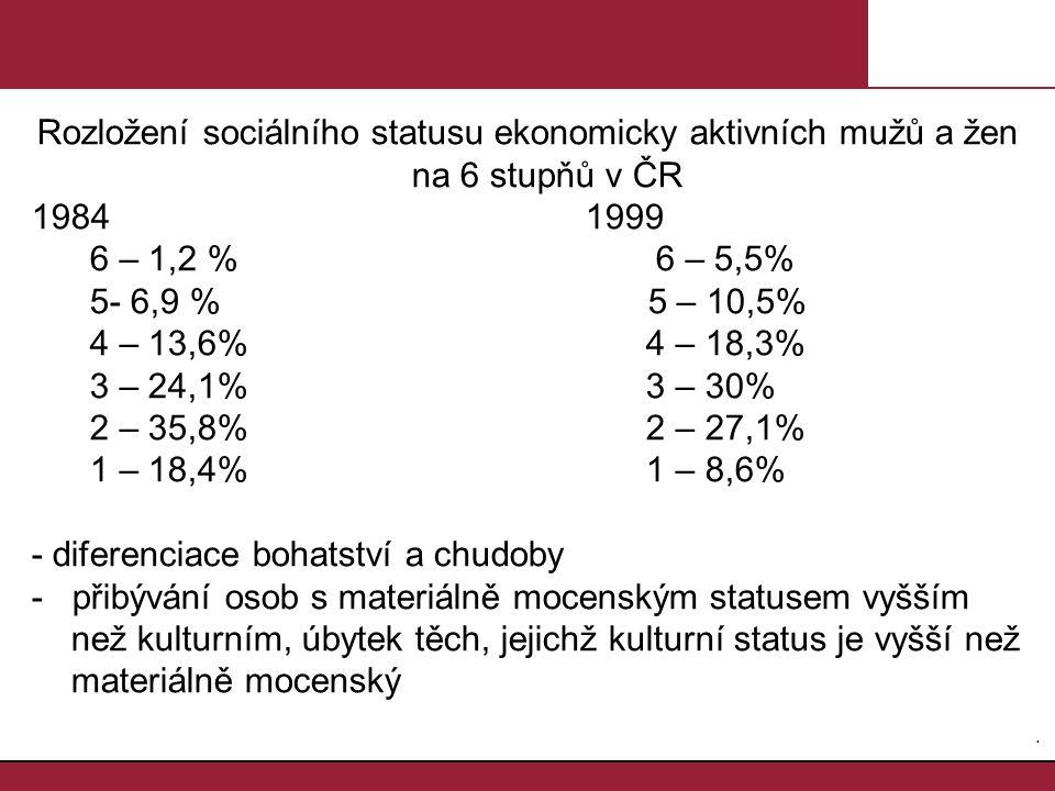 Rozložení sociálního statusu ekonomicky aktivních mužů a žen na 6 stupňů v ČR