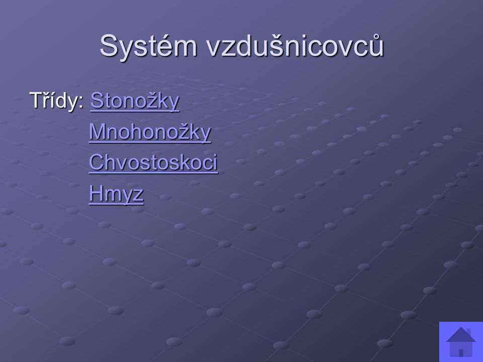 Systém vzdušnicovců Třídy: Stonožky Mnohonožky Chvostoskoci Hmyz