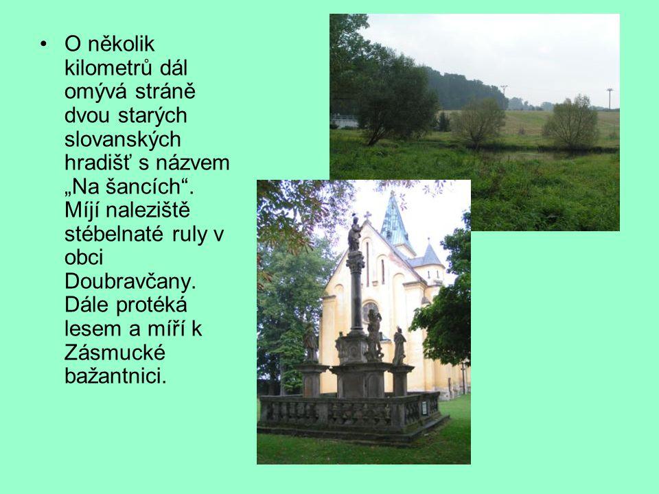 """O několik kilometrů dál omývá stráně dvou starých slovanských hradišť s názvem """"Na šancích ."""