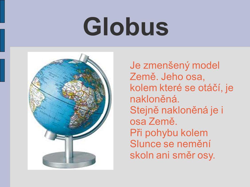 Globus Je zmenšený model Země. Jeho osa, kolem které se otáčí, je