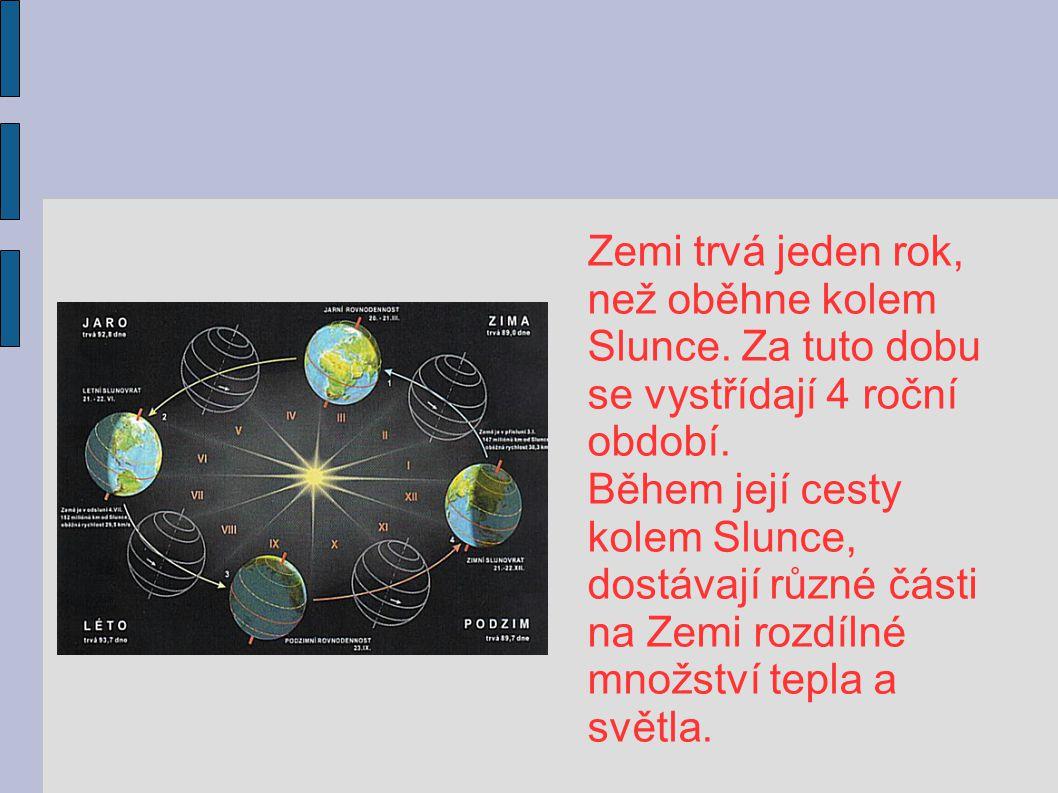 Zemi trvá jeden rok, než oběhne kolem. Slunce. Za tuto dobu. se vystřídají 4 roční. období. Během její cesty.