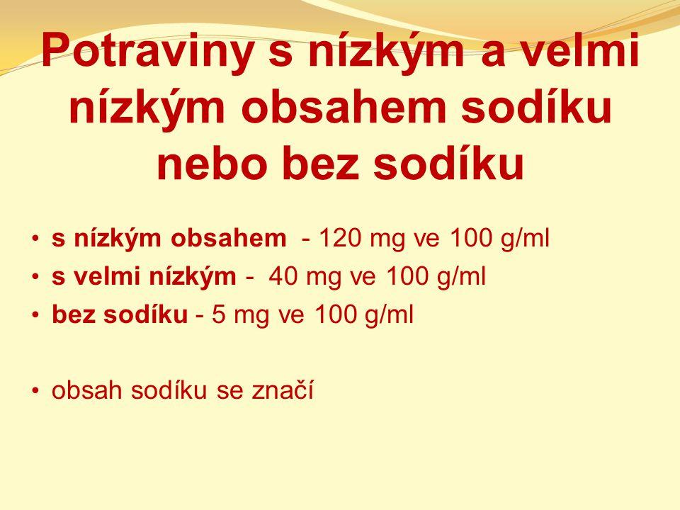 Potraviny s nízkým a velmi nízkým obsahem sodíku nebo bez sodíku