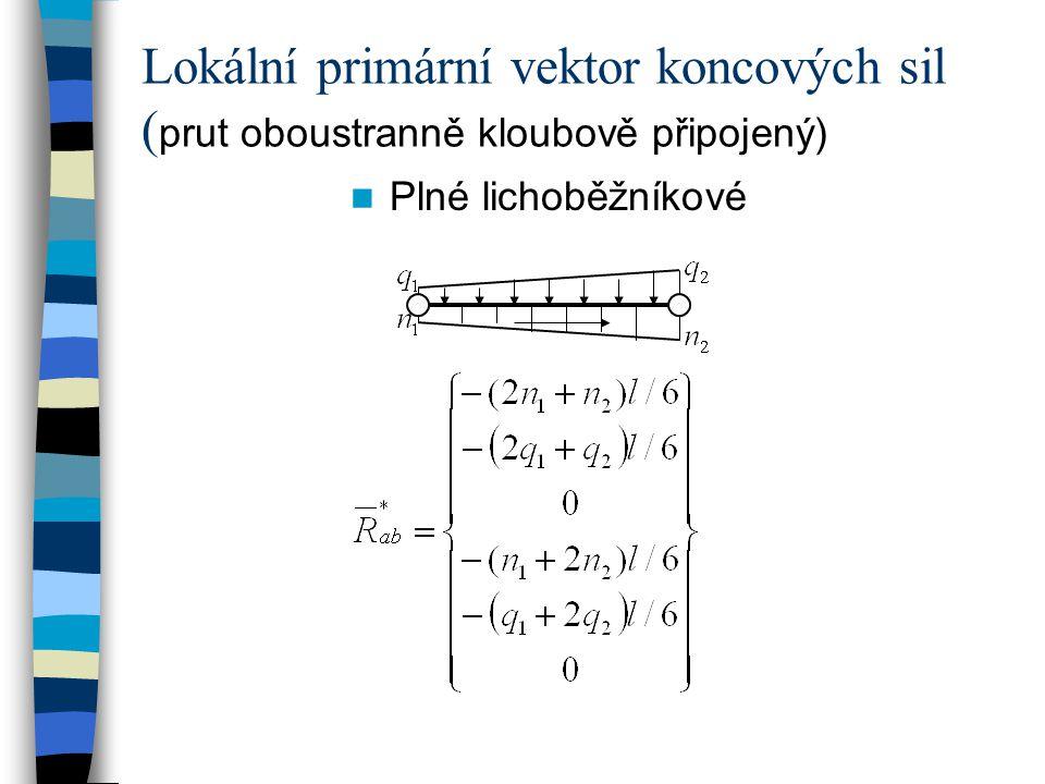 Lokální primární vektor koncových sil (prut oboustranně kloubově připojený)