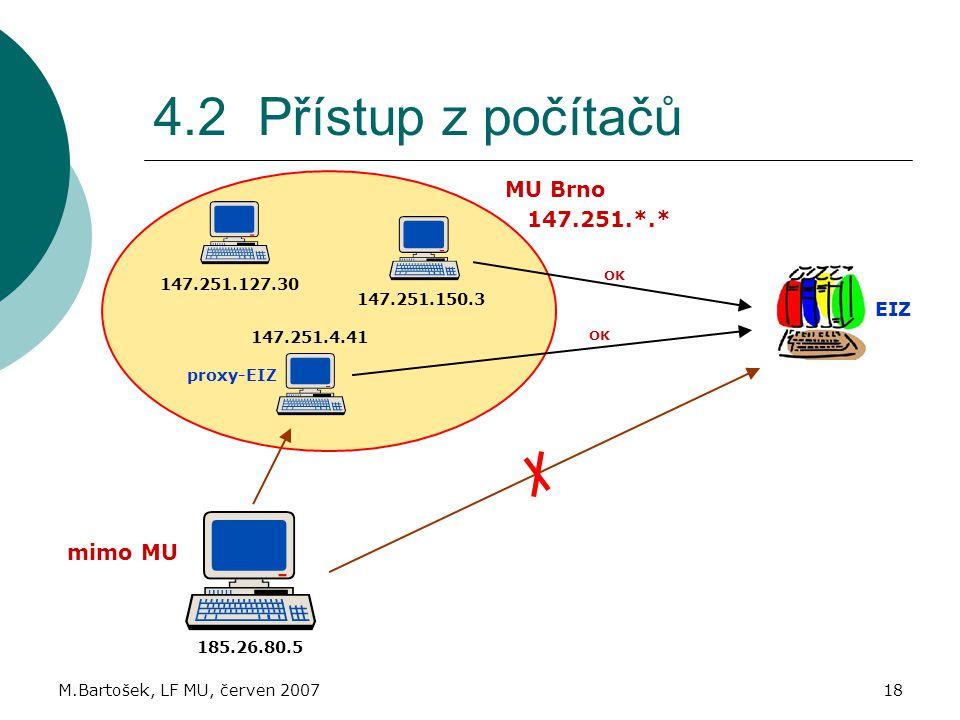 4.2 Přístup z počítačů MU Brno 147.251.*.* mimo MU EIZ 147.251.127.30