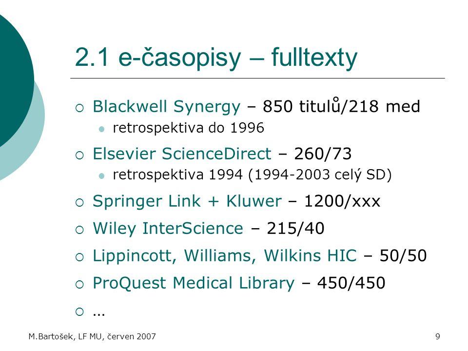 2.1 e-časopisy – fulltexty