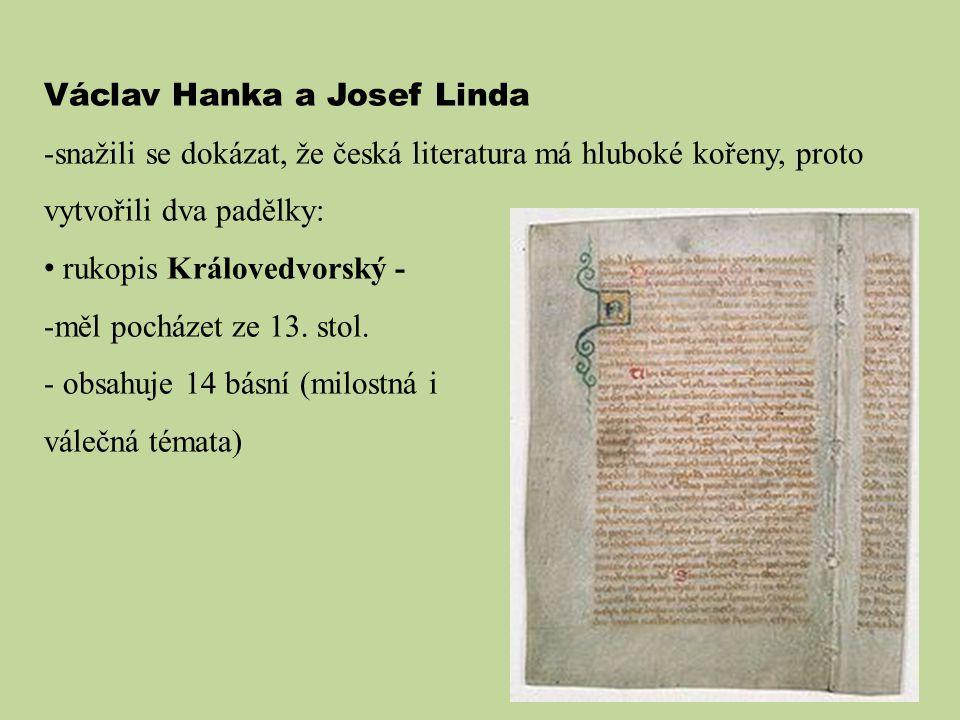 Václav Hanka a Josef Linda