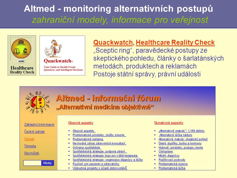 Altmed - monitoring alternativních postupů zahraniční modely, informace pro veřejnost