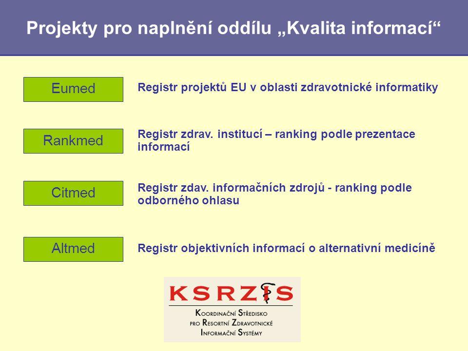 """Projekty pro naplnění oddílu """"Kvalita informací"""