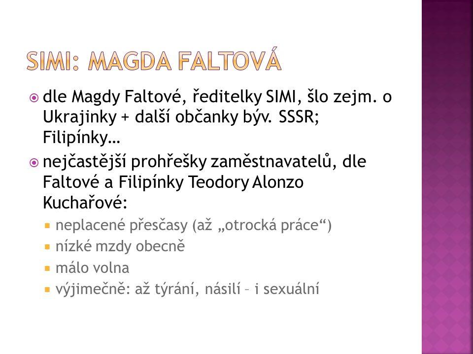 SIMI: MAGDA FALTOVÁ dle Magdy Faltové, ředitelky SIMI, šlo zejm. o Ukrajinky + další občanky býv. SSSR; Filipínky…
