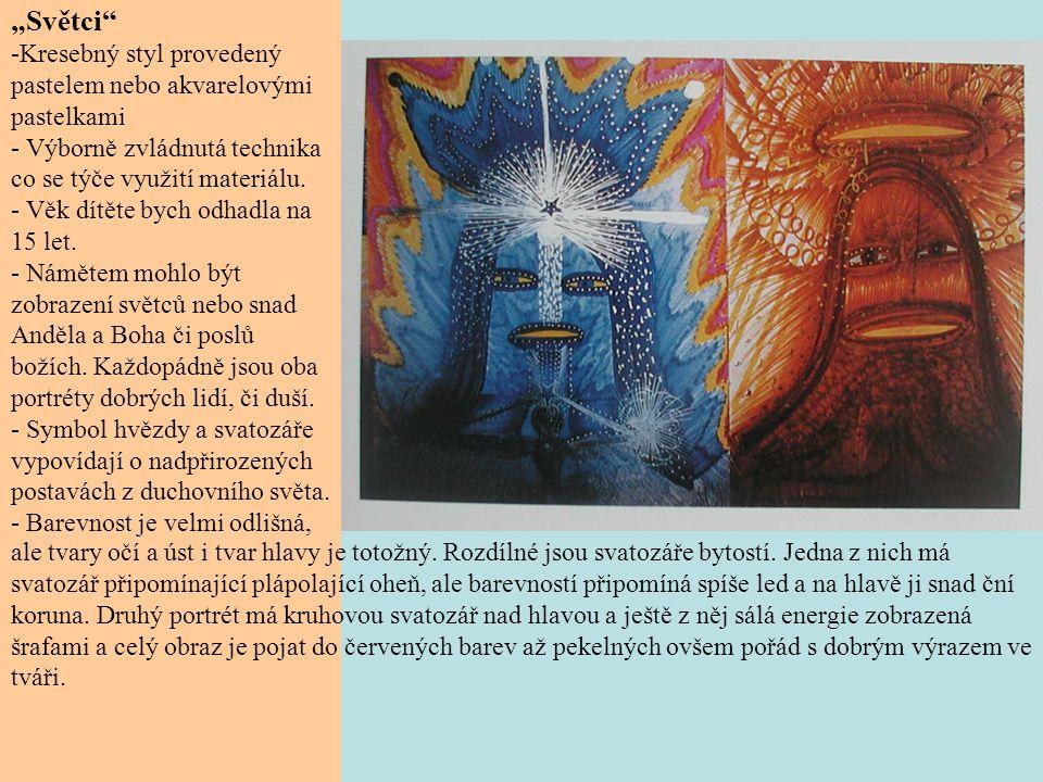 """""""Světci Kresebný styl provedený pastelem nebo akvarelovými pastelkami"""