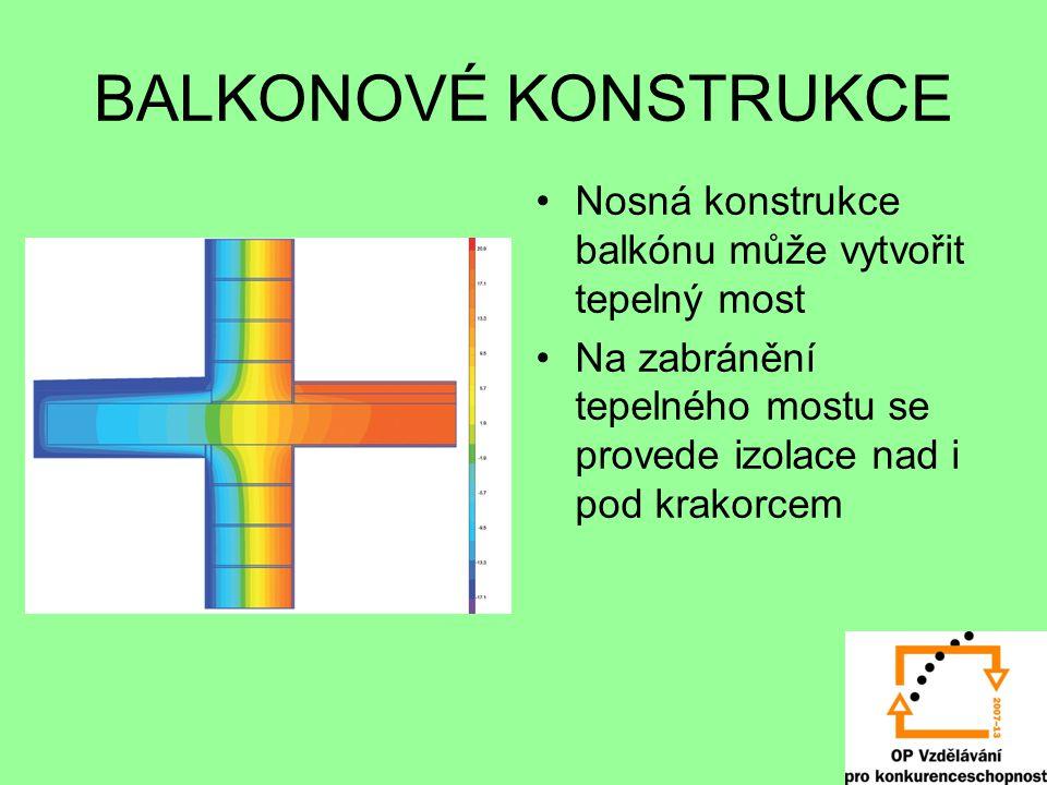 BALKONOVÉ KONSTRUKCE Nosná konstrukce balkónu může vytvořit tepelný most.