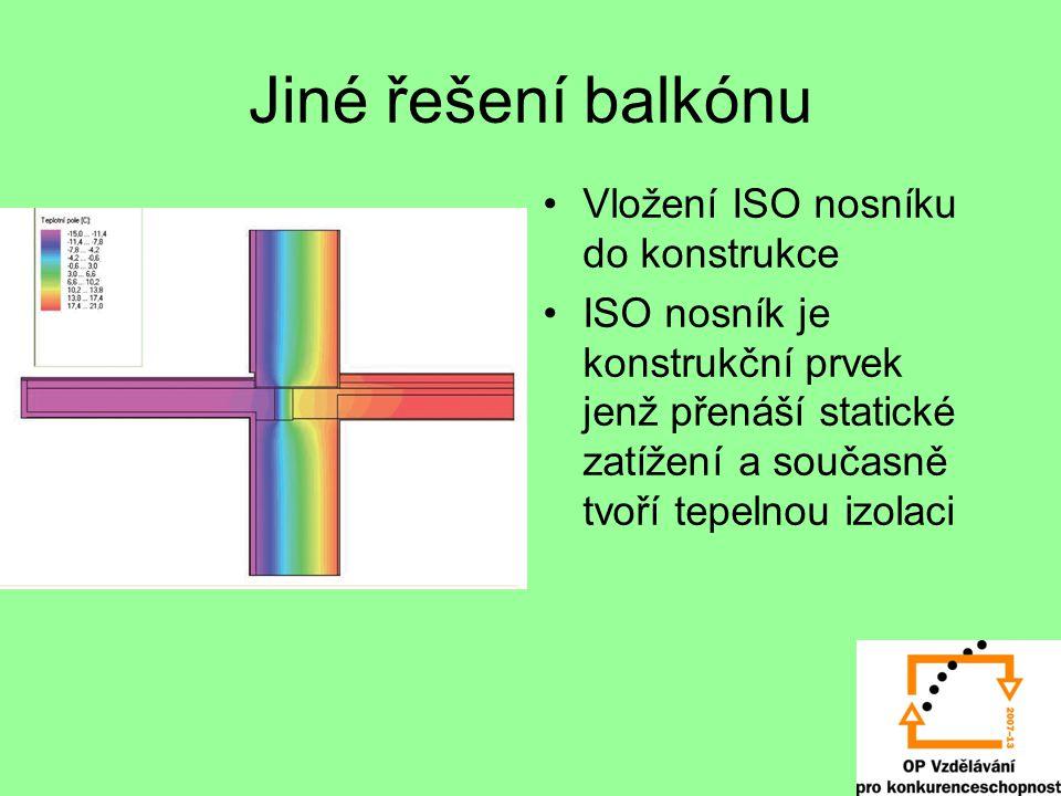 Jiné řešení balkónu Vložení ISO nosníku do konstrukce