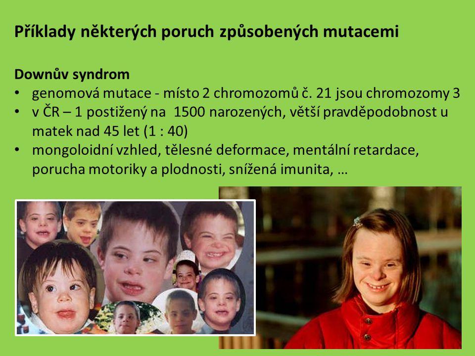 Příklady některých poruch způsobených mutacemi
