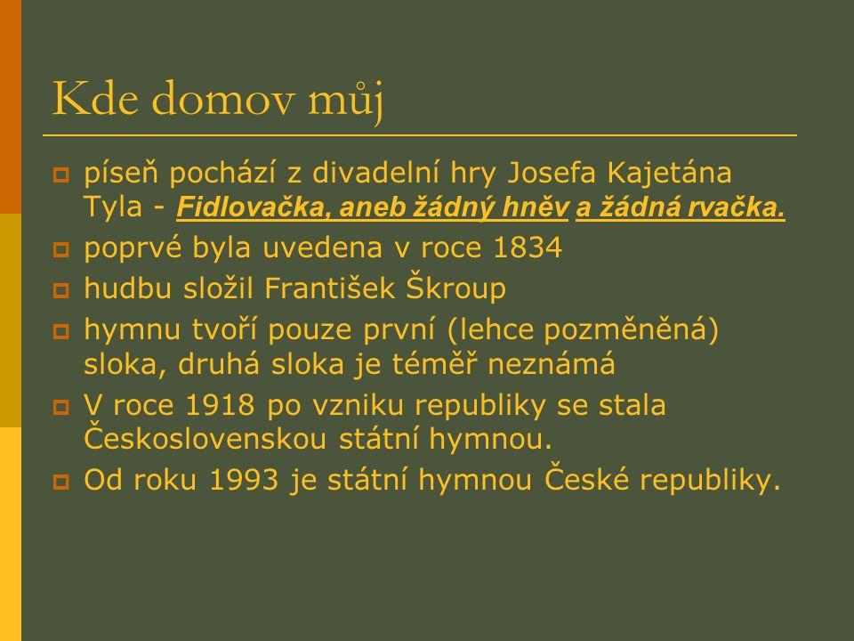 Kde domov můj píseň pochází z divadelní hry Josefa Kajetána Tyla - Fidlovačka, aneb žádný hněv a žádná rvačka.