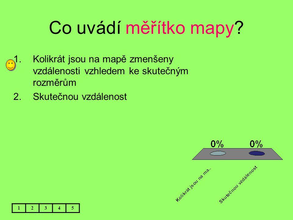Co uvádí měřítko mapy Kolikrát jsou na mapě zmenšeny vzdálenosti vzhledem ke skutečným rozměrům. Skutečnou vzdálenost.