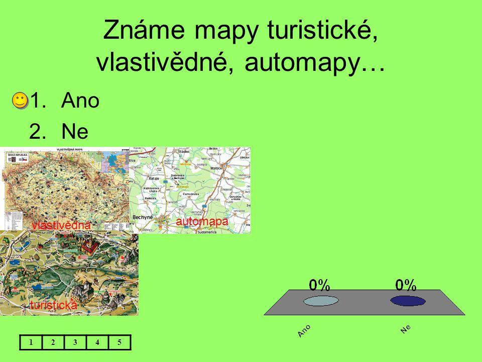 Známe mapy turistické, vlastivědné, automapy…