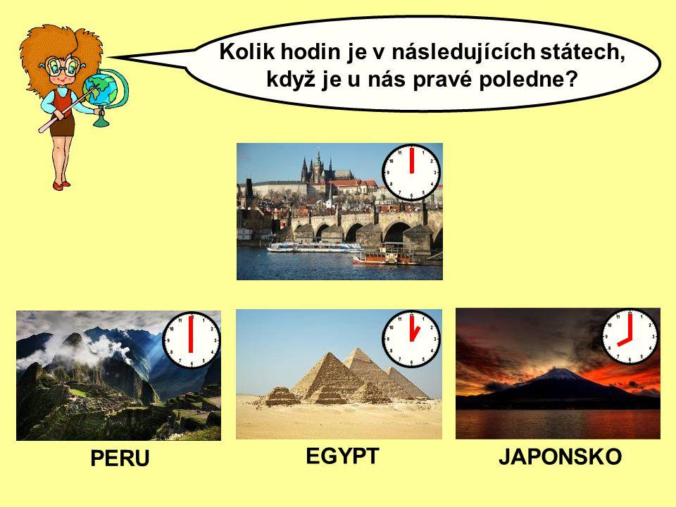 Kolik hodin je v následujících státech, když je u nás pravé poledne