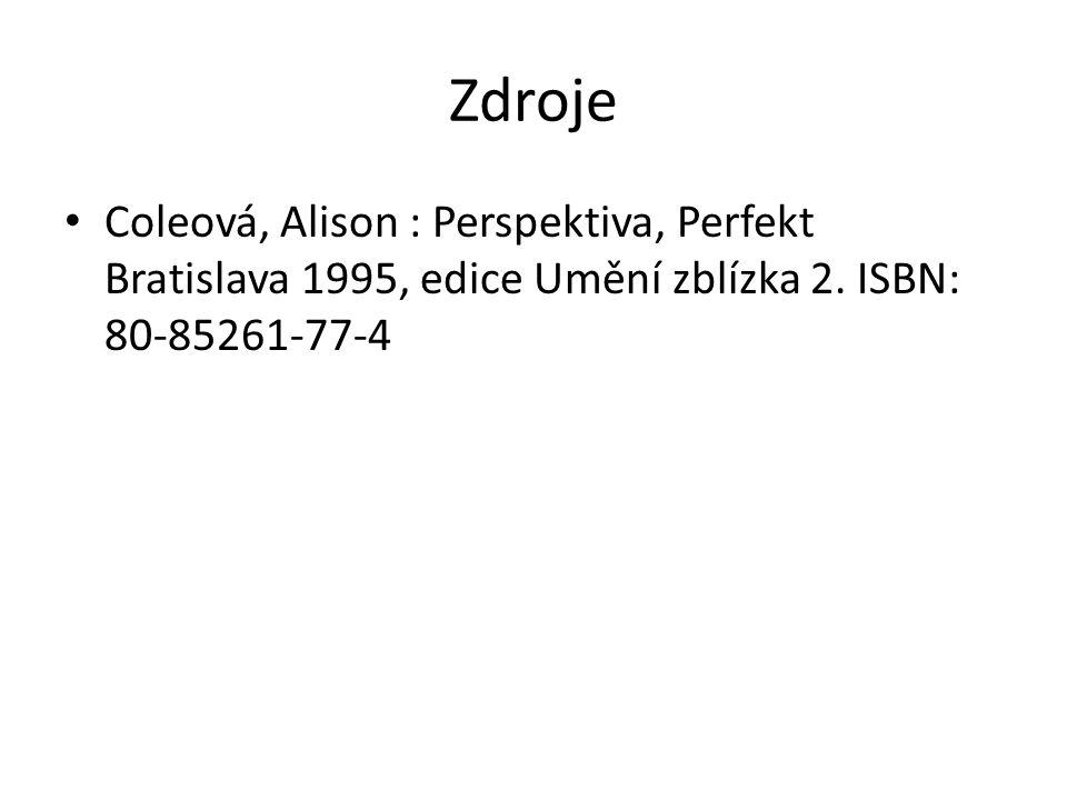 Zdroje Coleová, Alison : Perspektiva, Perfekt Bratislava 1995, edice Umění zblízka 2.