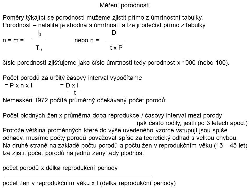 Měření porodnosti Poměry týkající se porodnosti můžeme zjistit přímo z úmrtnostní tabulky.