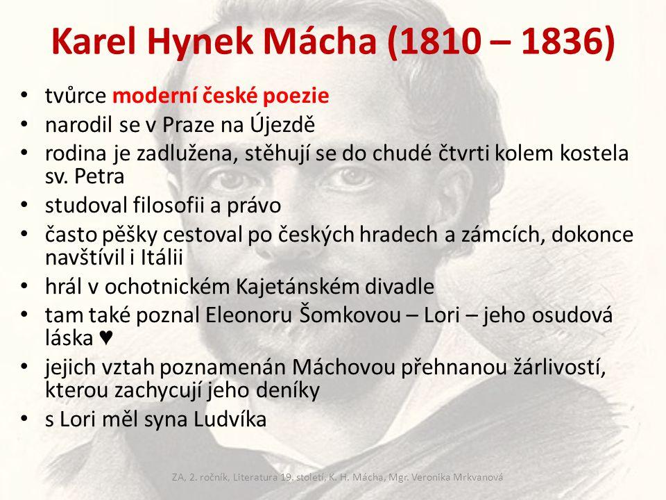 Karel Hynek Mácha (1810 – 1836) tvůrce moderní české poezie