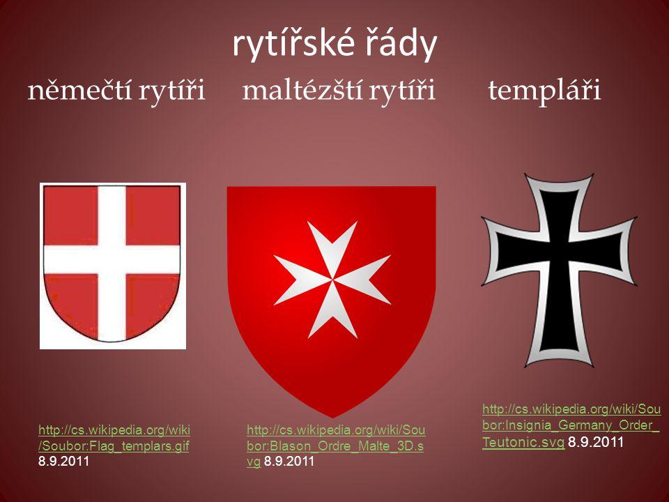 rytířské řády němečtí rytíři maltézští rytíři templáři