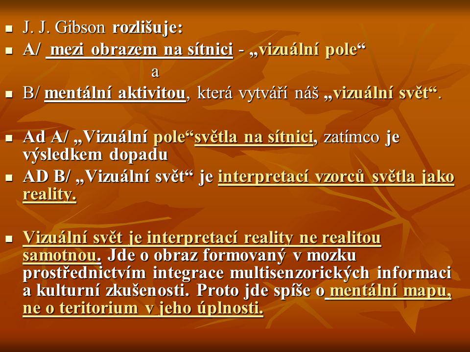 """J. J. Gibson rozlišuje: A/ mezi obrazem na sítnici - """"vizuální pole a. B/ mentální aktivitou, která vytváří náš """"vizuální svět ."""