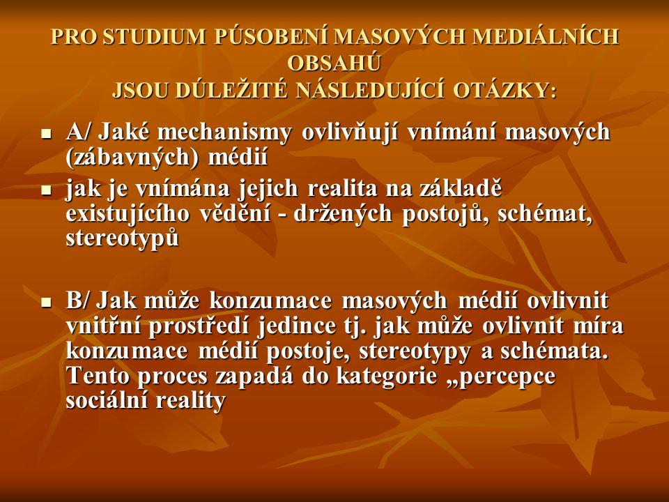 A/ Jaké mechanismy ovlivňují vnímání masových (zábavných) médií
