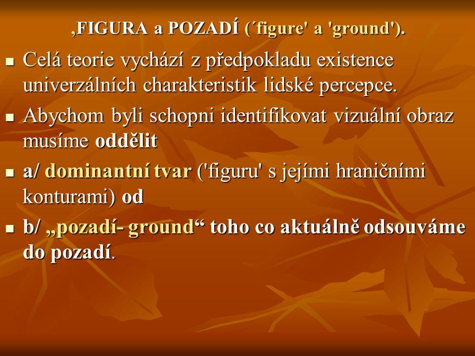 'FIGURA a POZADÍ (´figure a ground ).
