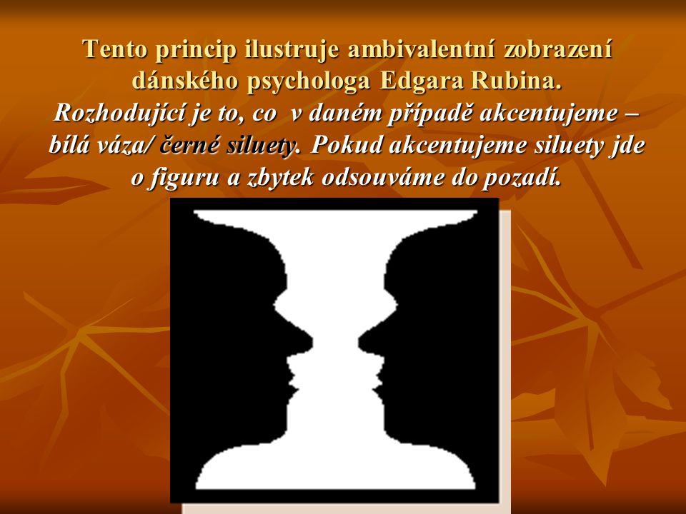 Tento princip ilustruje ambivalentní zobrazení dánského psychologa Edgara Rubina.